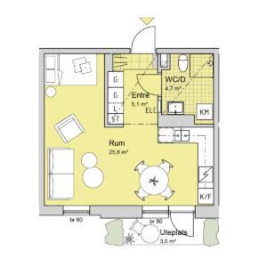 Ferrum lägenhet a1001 planlösning