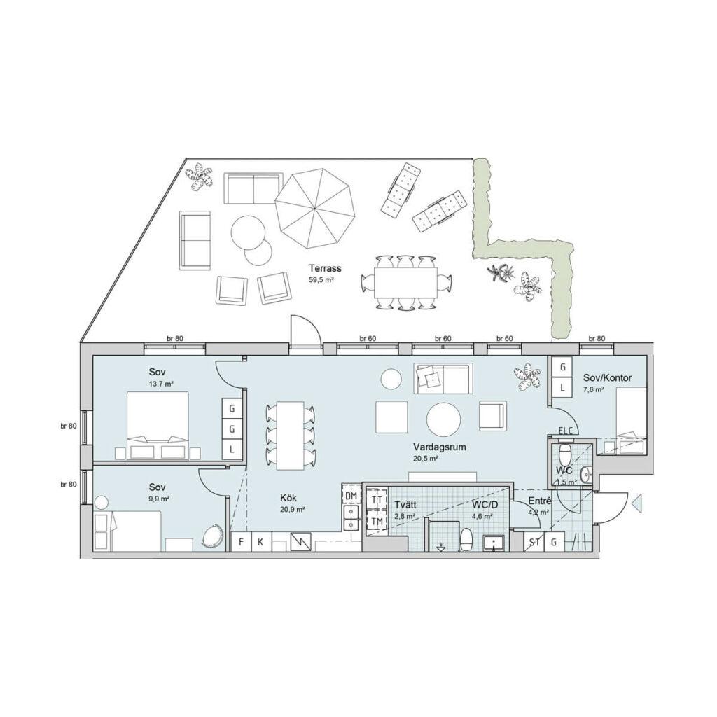 Ferrum lägenhet a1003 planlösning