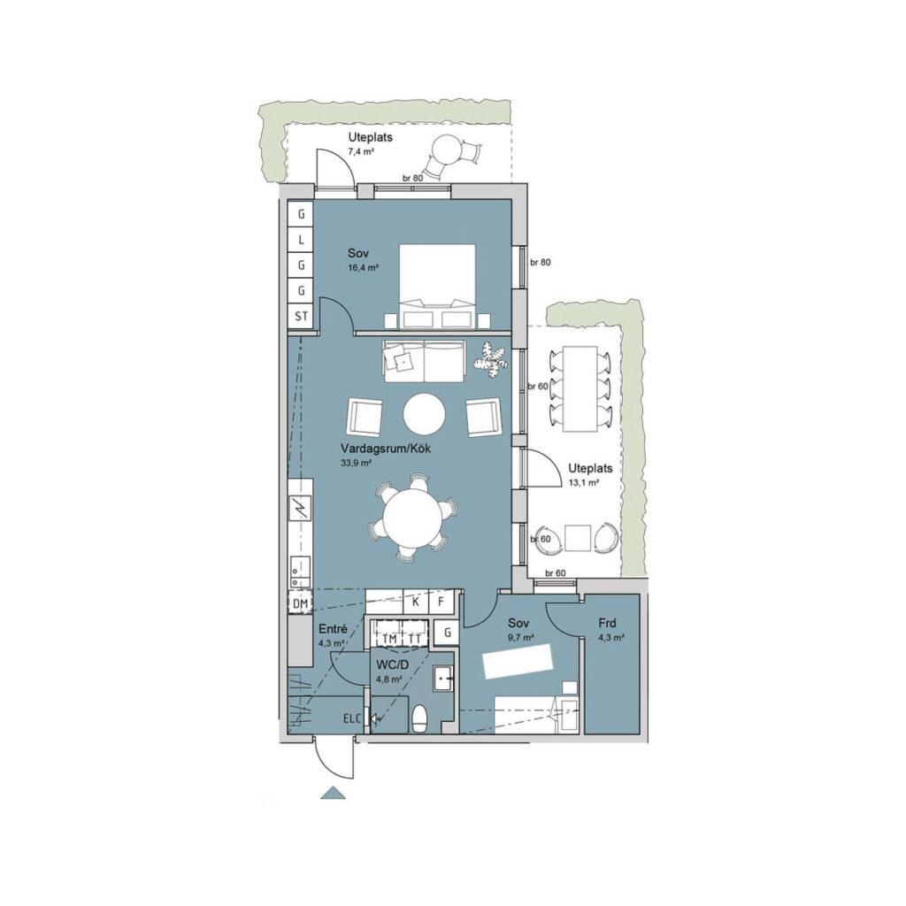 Ferrum lägenhet a1005 planlösning