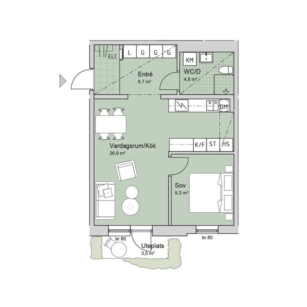 Ferrum lägenhet a1006 planlösning