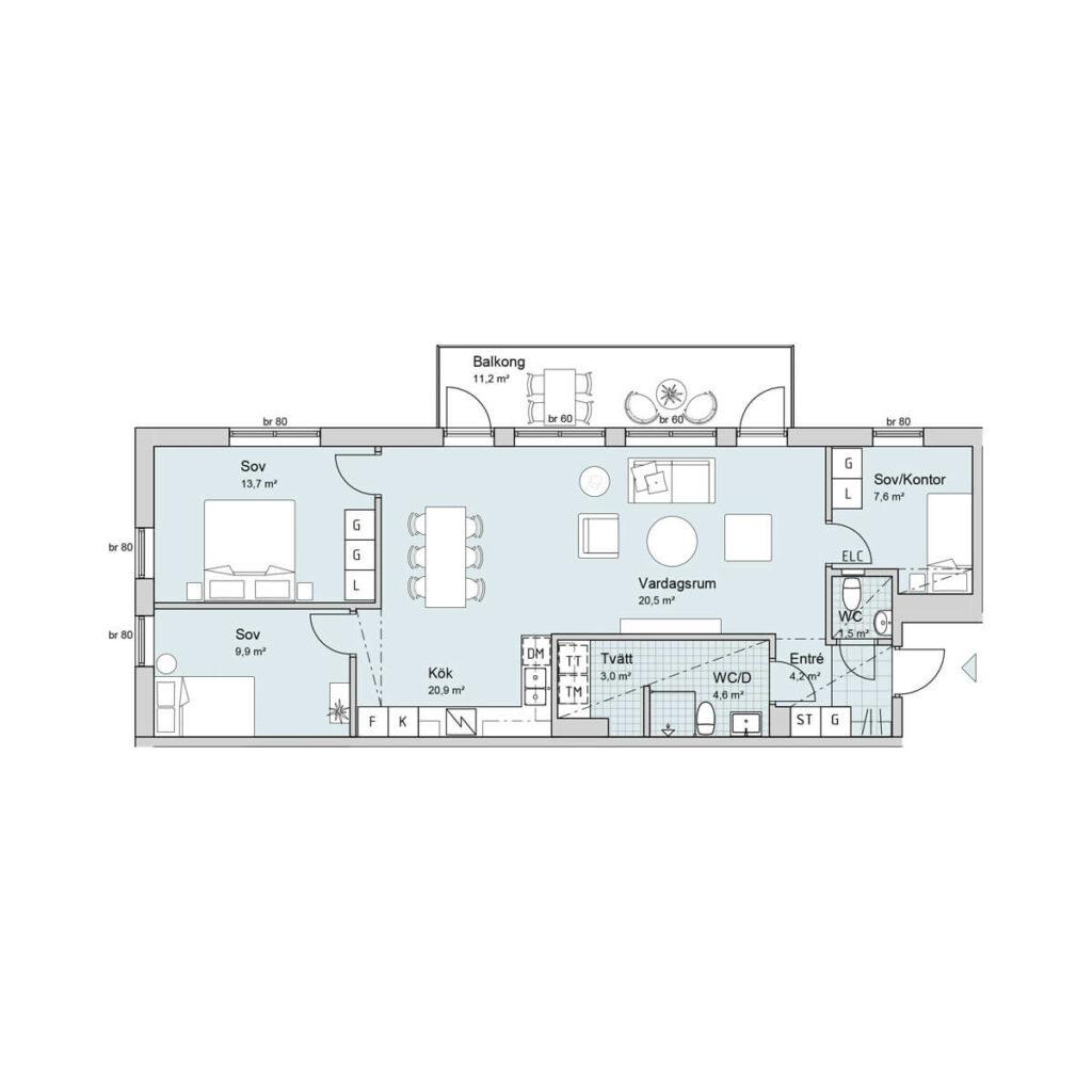 Ferrum lägenhet a1103-1203 planlösning