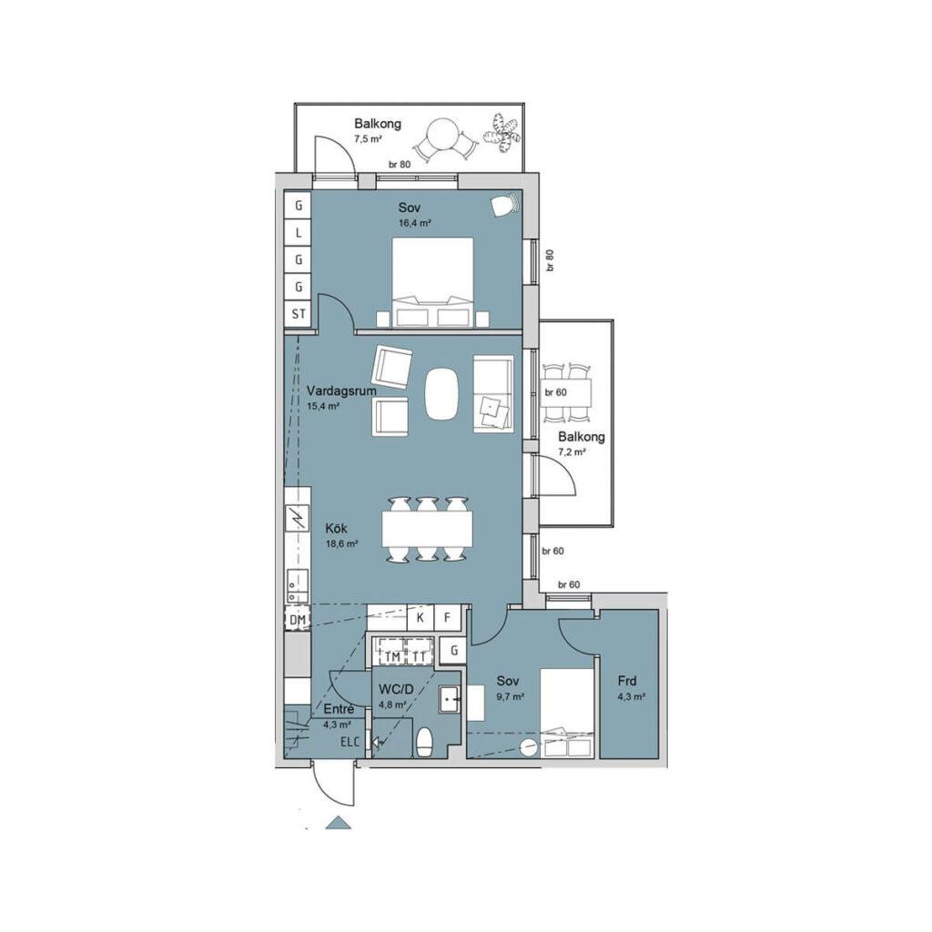 Ferrum lägenhet a1105-a1205 planlösning