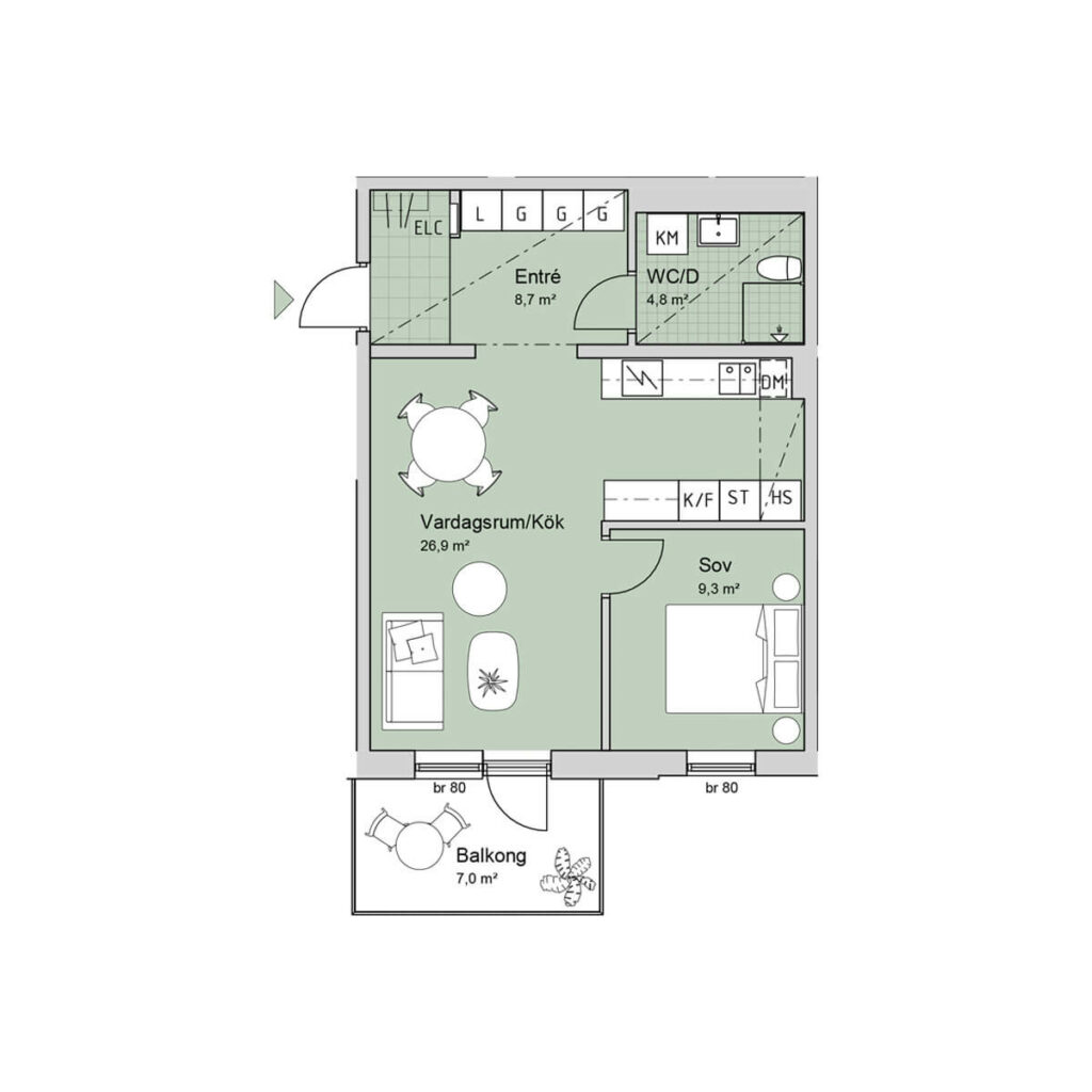 Ferrum lägenhet a1106-1206-1306 planlösning