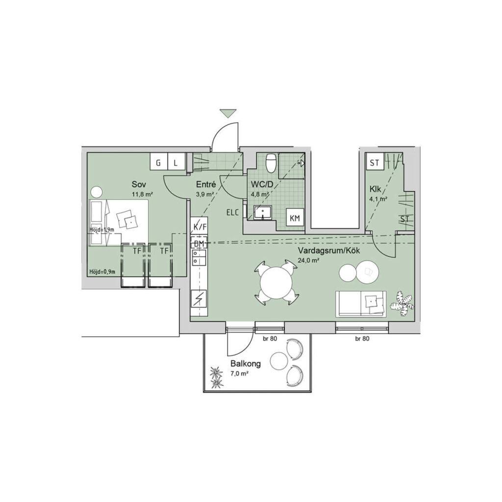 Ferrum lägenhet a1301 planlösning