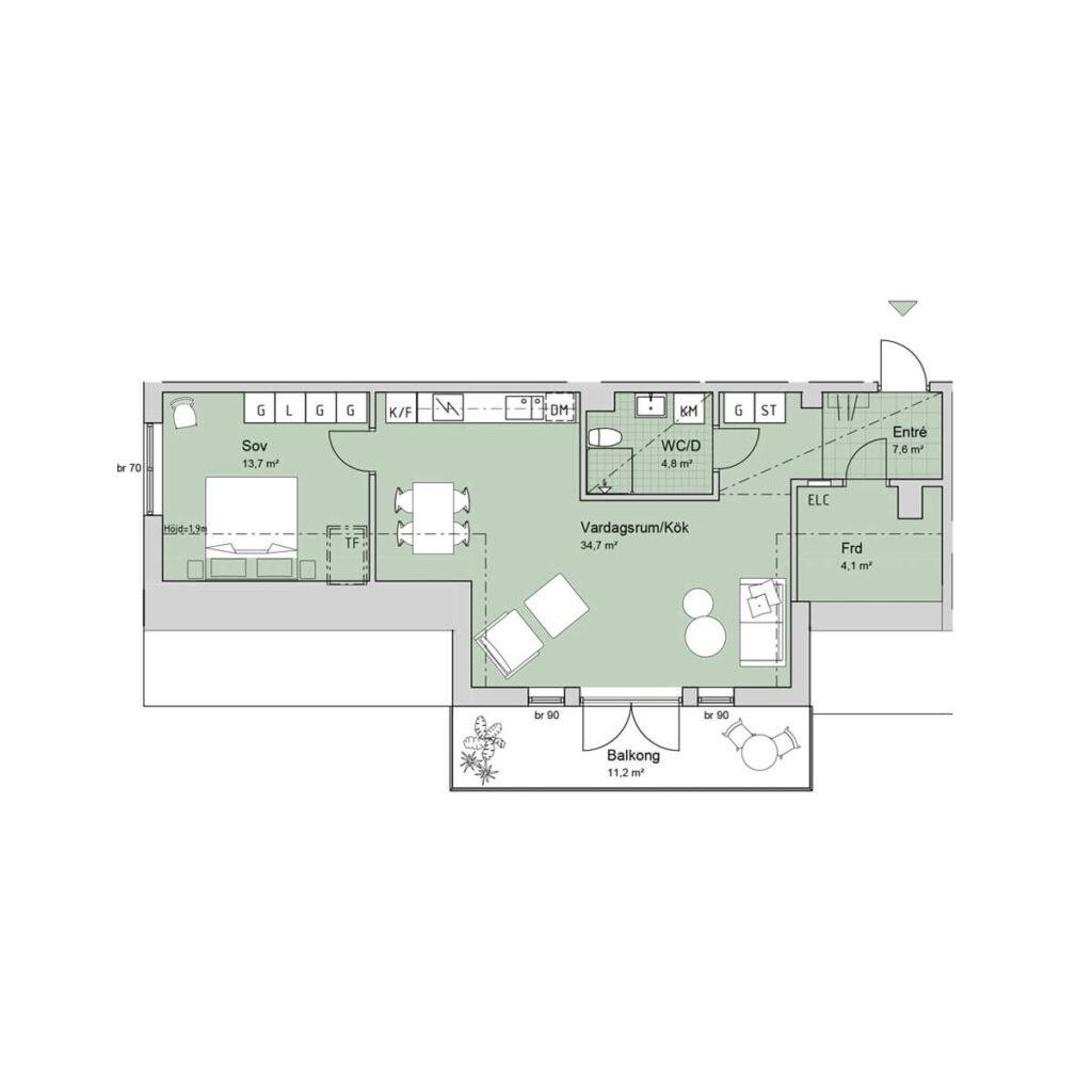 Ferrum lägenhet a1302 planlösning