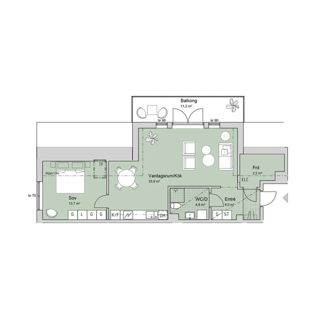 Ferrum lägenhet a1303 planlösning