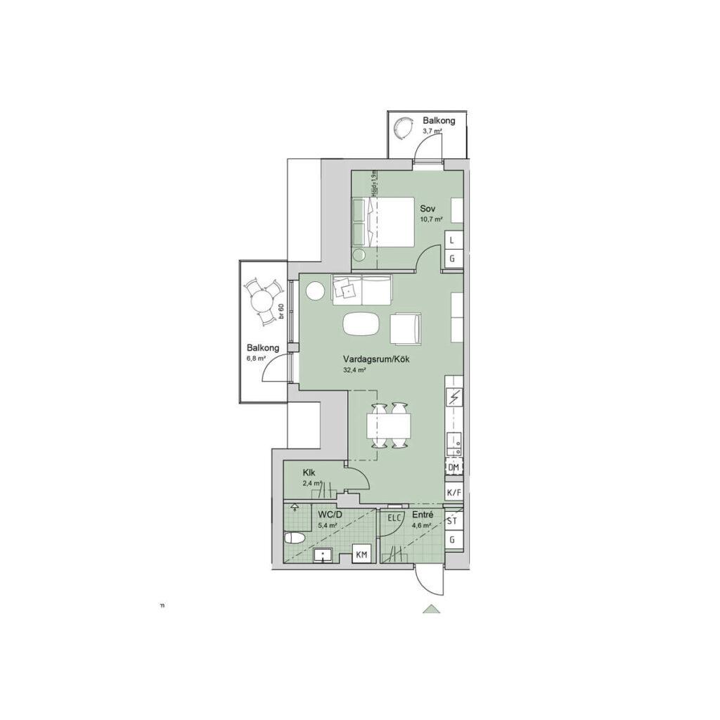 Ferrum lägenhet a1304 planlösning