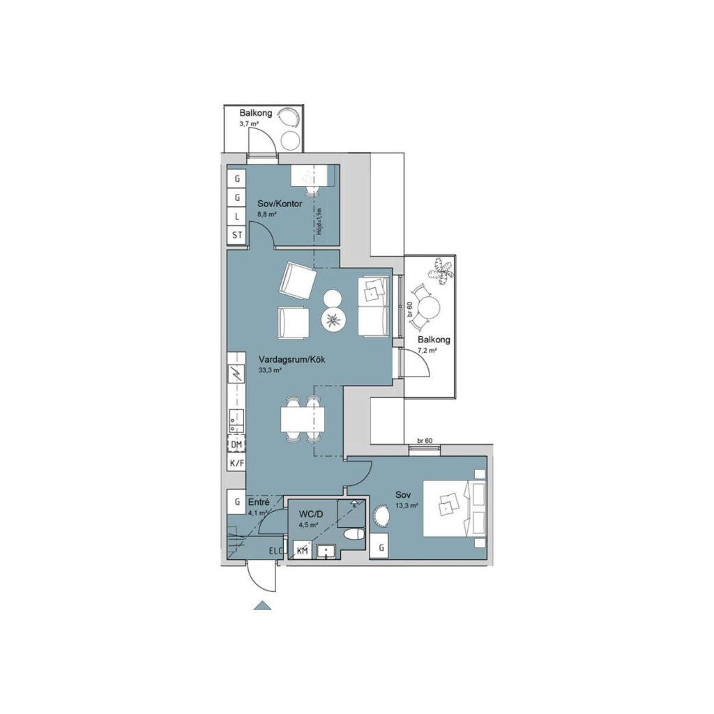 Ferrum lägenhet a1305 planlösning