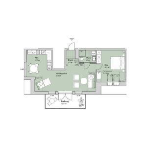Ferrum lägenhet a1401 planlösning