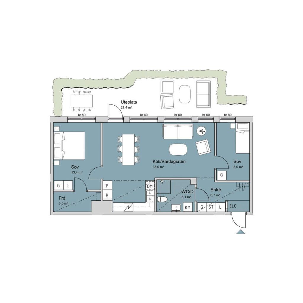 Ferrum lägenhet b1002 planlösning