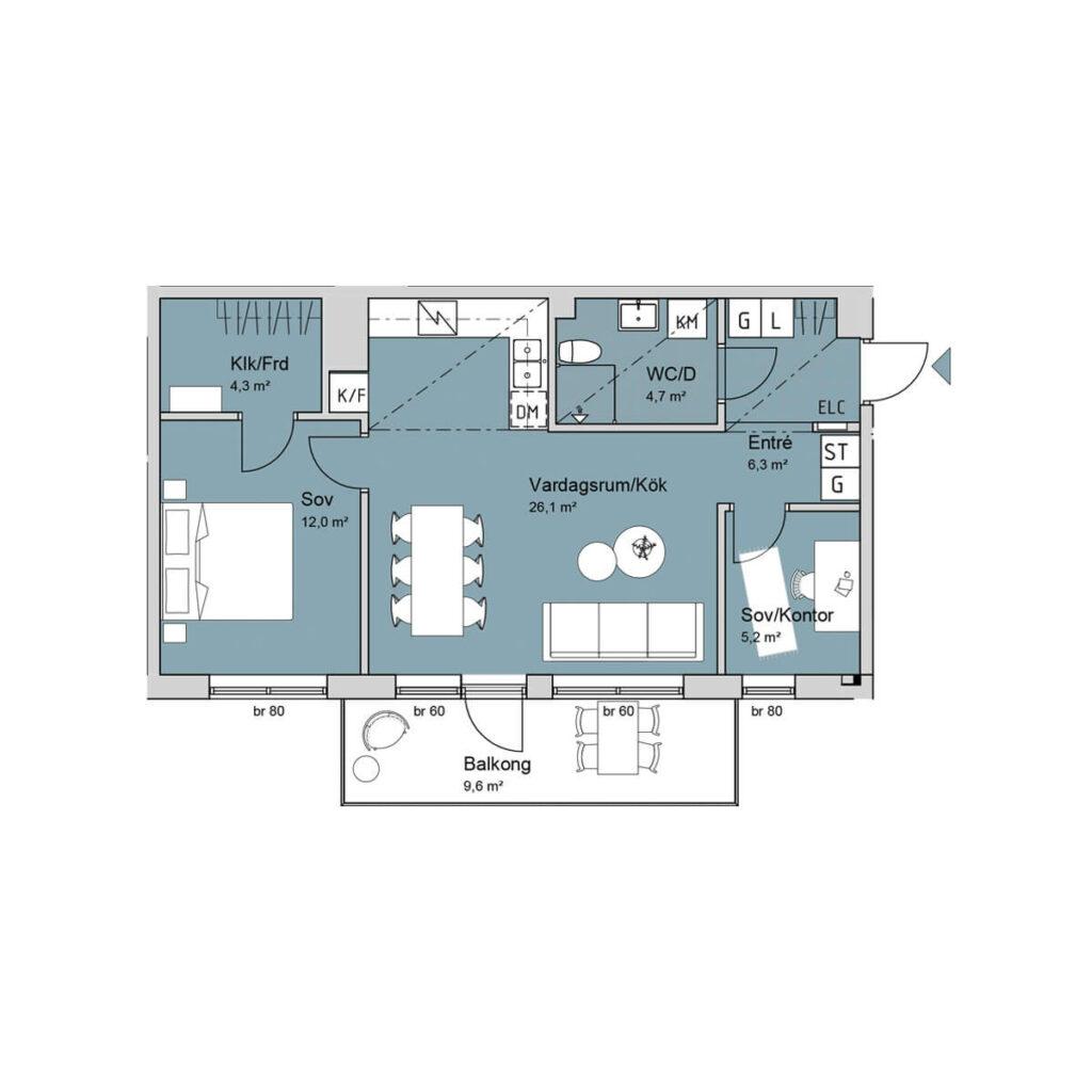 Ferrum lägenhet b1101-1201-1301 planlösning