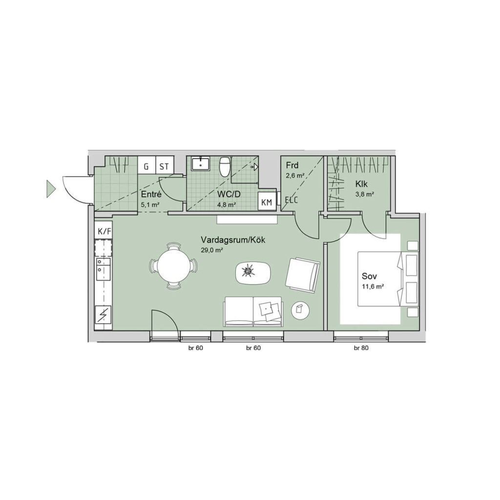 Ferrum lägenhet b1104 planlösning