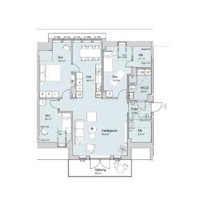 Ferrum lägenhet b1401 planlösning