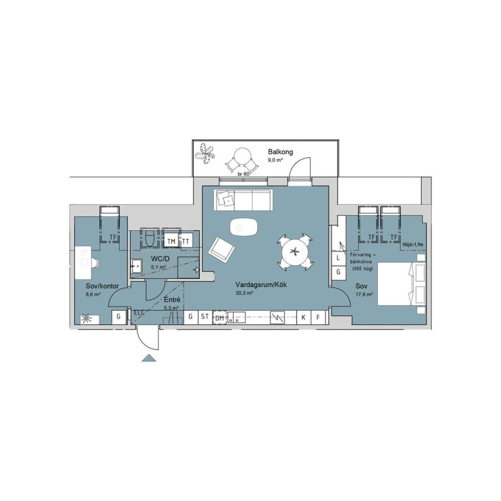 Ferrum lägenhet b1402 planlösning