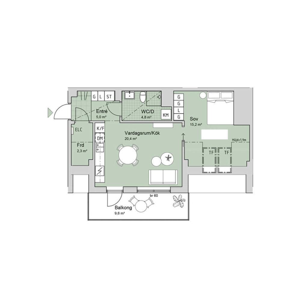 Ferrum lägenhet b1403 planlösning