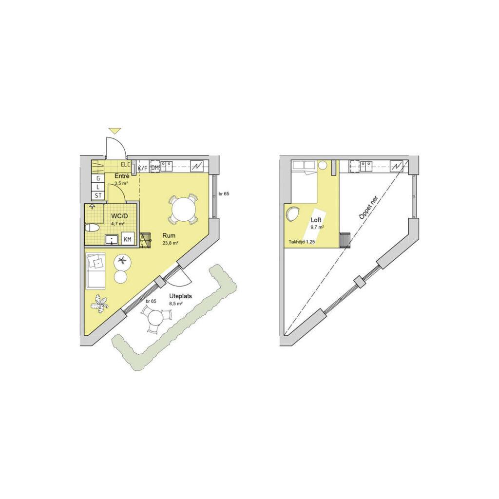Ferrum lägenhet c1001 planlösning