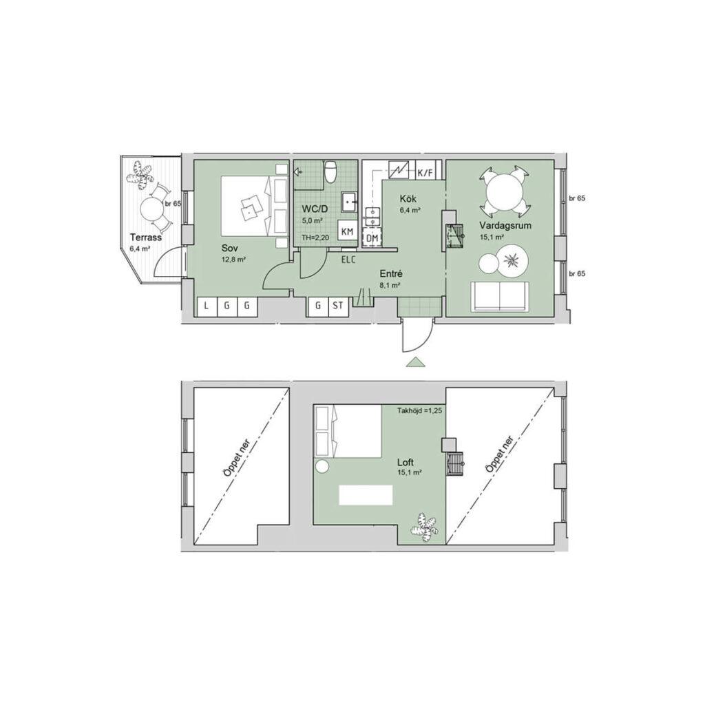Ferrum lägenhet c1002 planlösning