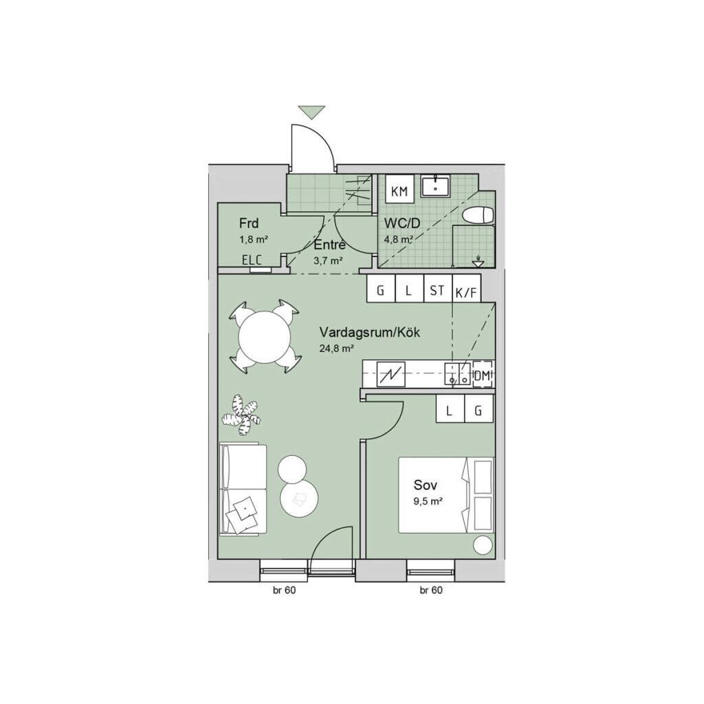 Ferrum lägenhet c1101 planlösning