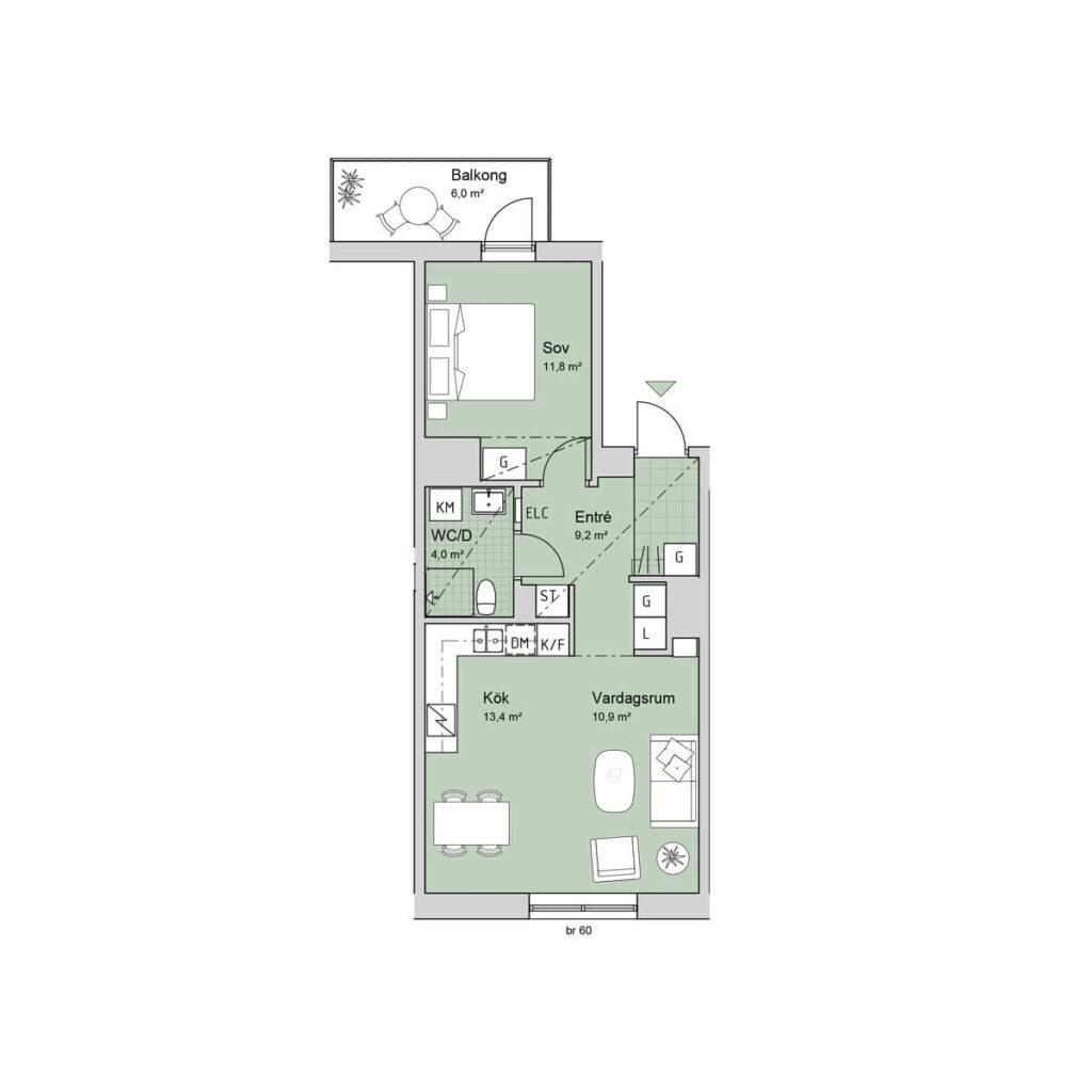 Ferrum lägenhet c1102 planlösning