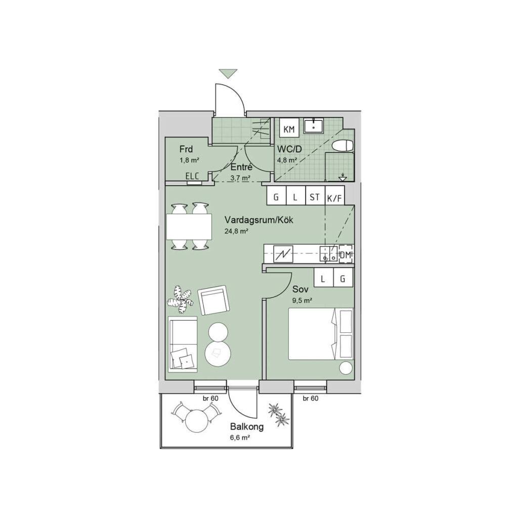 Ferrum lägenhet c1204-1304-1403 planlösning