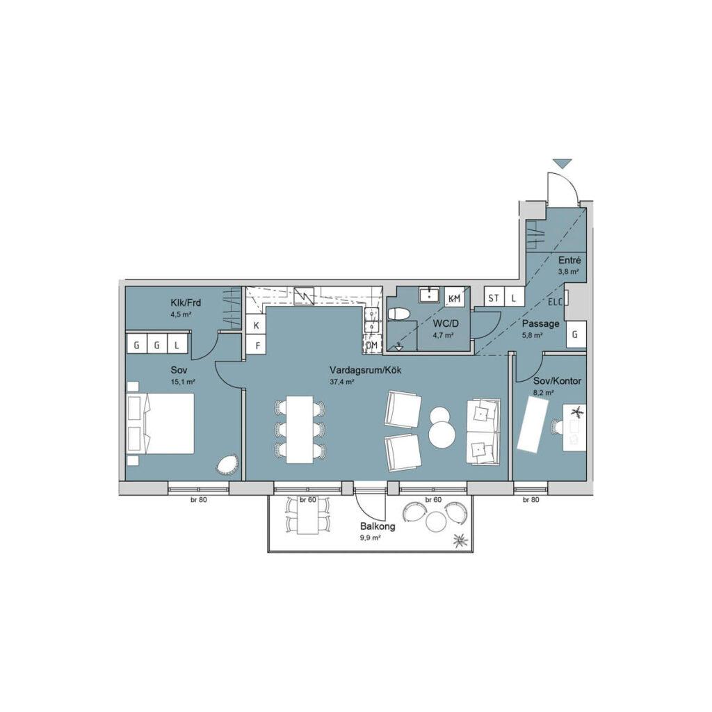 Ferrum lägenhet c1205-1305-1404 planlösning