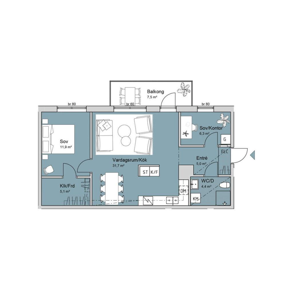 Ferrum lägenhet c1206-1306-1405 planlösning