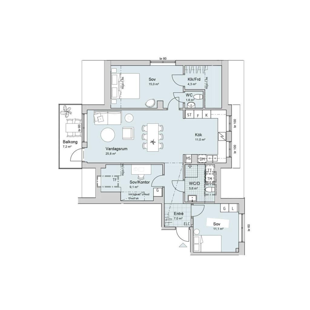 Ferrum lägenhet c1401 planlösning