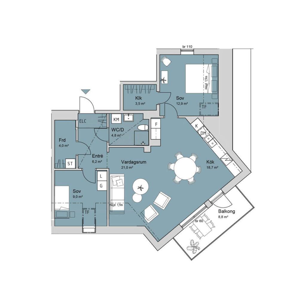 Ferrum lägenhet c1501 planlösning