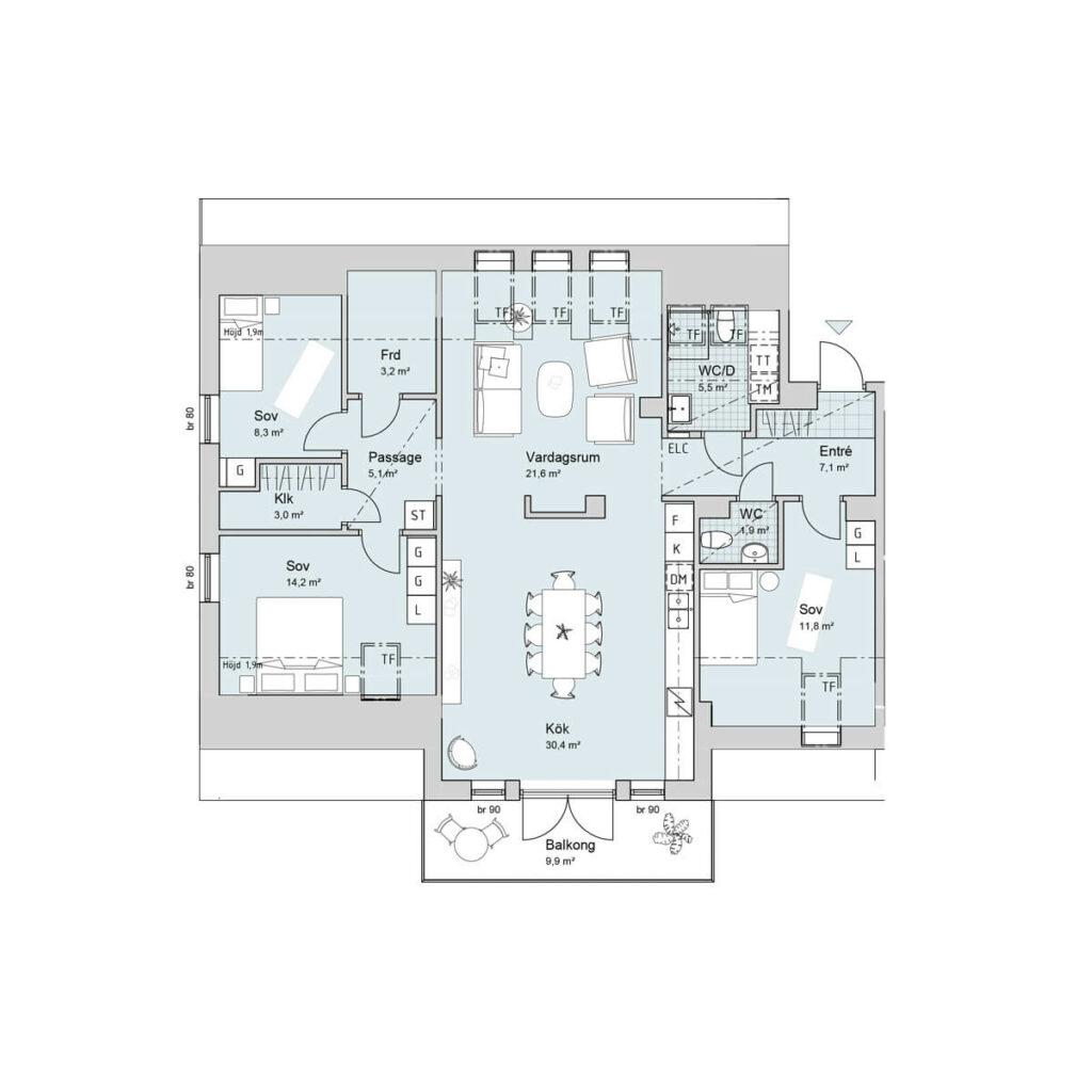 Ferrum lägenhet c1502 planlösning